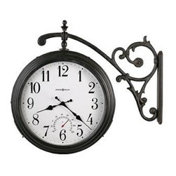HOWARD MILLER - Howard Miller Luis Double Sided Indoor/Outdoor Hanging Wall Clock - The Luis Double Sided Indoor/Outdoor clock is a marvelous two sided clock that is one our most popular of our Howard Miller clocks, and for good reasons. This two sided clock can be installed indoors or outdoors, and has a beautiful antique iron finish with a powder-coated case as well as a Fahrenheit thermometer. This two sided clock also swivels so it can be seen from any angle you choose. Classic and comely, this decorative clock takes on a character all of its own like most Howard Miller clocks. Add a touch of class to your home or business with the Howard Miller Luis double sided clock today.