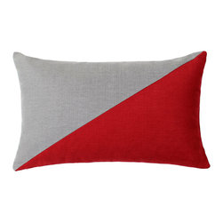 LaCozi - Duo Red & Grey Throw Pillow - - Dual colored square pillow (available in 12''x20'' and 20''x20'')