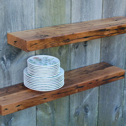 Floating Kitchen Shelves - Two reclaimed solid Chestnut floating shelves. Made from antique barn rafters. Mellow golden and complex dark reds, browns, and blacks blend together for subtle color variation. Add charm and warmth to any decor. They work great in the kitchen, bathroom or anywhere beautiful shelving is needed. Super sturdy and hold more than 75 pounds each when fastened to studs.They come with keyhole fasteners installed for easy, secure installation. Light coats of varnish.