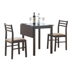 Monarch Specialties - Monarch Specialties 3 Piece Dining Set in Cappuccino - This casual three piece dining set offers classic styling that will blend with any decor. The table features a solid-top drop leaf, straight edges and sleek square legs. The armless side chairs feature a ladder back design with padded upholstered seating for comfort. The clean lines of this set paired with a warm cappuccino finish, will help create a timeless look that you and your family will love. What's included: Table (1), Chairs (2).