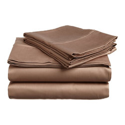 400 Thread Count Egyptian Cotton Twin XL Taupe Solid Sheet Set - 400 Thread Count Egyptian Cotton Twin XL Taupe Solid Sheet Set