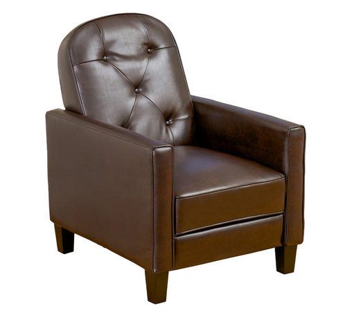 Great Deal Furniture - Santino Button Tufted Brown Leather Recliner - Sit back and relax in our Santino Brown Leather Recliner. This chair features a well padded seat, back and armrest to give you maximum comfort in a seated or reclined position. Smooth brown bonded leather provides the finishing touches to make this piece a desired item in any living room.