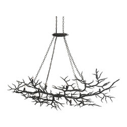Kathy Kuo Home - Boca Dramatic Branch Rustic Wrought Iron 14 Light Chandelier - Bold black branches create a canopy of dramatic organic style lighting in this large  wrought iron chandelier.  A perfect piece for rustic lodge, eclectic style and even contemporary inspired spaces.