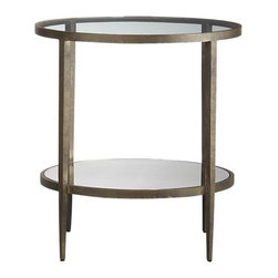 Clairemont Side Table | Crate&Barrel - We are experiencing a second Bronze Age people. Perhaps some people have simply had enough of silver and chrome, while others simply long for the days of Art Deco. Regardless, there's nothing sneakier to help you with storage than a side table with a lower shelf. This one's lower shelf is mirrored glass, while the top is glass. Use a pair as symmetrical nightstands or a single as an end table.