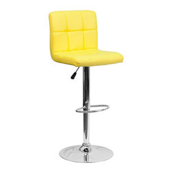 Flash Furniture - Flash Furniture Barstools Residential Barstools X-GG-LEY-DOM-018-SD - This sleek dual purpose stool easily adjusts from counter to bar height. The simple design allows it to seamlessly accent any area in the home. Not only is this stool stylish, but very comfortable to provide you with an amazing sitting experience! The easy to clean vinyl upholstery is an added bonus when stool is used regularly. The height adjustable swivel seat adjusts from counter to bar height with the handle located below the seat. The chrome footrest supports your feet while also providing a contemporary chic design. [DS-810-MOD-YEL-GG]