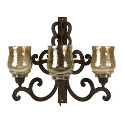 IMAX Worldwide Home - Forged Iron Triple Wall Sconce - Material: 70% Iron, 30% Glass. 19 in. H x 13 in. W x 22.5 in. D. Weight: 10.47 lbs.Made from forged iron in Spanish mission style, this three candle wall sconce will add quiet ambiance to any room.
