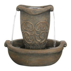Bond Manufacturing - Bellona Fountain - In quaint countryside charm the Bellona fountain is a grand addition to garden and patios of all styles. Water rigorously tumbles from the decorative urn into the sturdy basin below.