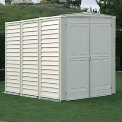 Duramax Building Products - Duramax 5 x 8 ft. YardMate Storage Shed with Floor Multicolor - 811 - Shop for Sheds and Storage from Hayneedle.com! Additional information: Vinyl eliminates painting treating or maintenance Strong walls allow you to hang tools and shelves Installs easily in a matter of hours Complete with dark green molded floor and doublewide doors 235 cubic feet of storage room 15-year limited manufacturer's warranty Pour concrete at least one foot larger than actual dimensions Door dimensions: 4.4W x 6H feet Interior dimensions: 5.2W x 7.6D x 6.4H feet Foundation-free maintenance-free worry-free the Duramax 5 x 8 ft. YardMate Storage Shed with Floor is the ultimate storage solution in any season. Made from reinforced durable materials from the floor to the ceiling this shed protects your outdoor investments all year long. Complete with a reinforced vinyl floor so you don't have to worry about pouring a foundation. About DuramaxWeather-tested user-approved DuraMax Sheds produces nothing but the most durable vinyl sheds vinyl garages cabins fences and greenhouses available on the market. Each of their outdoor pieces combines rigid vinyl and steel reinforcement making them weather-proof and incredibly strong. Testing their line against high winds snow loads and other extreme conditions DuraMax is committed to providing consumers with low-maintenance high-quality products.