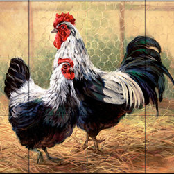 The Tile Mural Store (USA) - Tile Mural - Black Rooster & Hen - Kitchen Backsplash Ideas - This beautiful artwork by Laurie Snow Hein has been digitally reproduced for tiles and depicts a hen and rooster.  Rooster tile murals and decorative tiles with roosters are the perfect addition to your kitchen backsplash tile project. You can't go wrong with any of our decorative rooster tiles - each one is beautiful and will certainly add interest to your kitchen wall tile. Tile murals of roosters are timeless and will never go out of style. Add something unique to your kitchen backsplash behind your stove or sink.