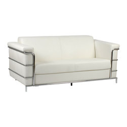 Euro Style - Leonardo Leather Sofa - White Leather/Chrome - This is a very space efficient workstation. Epoxy coated steel in either a graphite/smoked look or in bright aluminum and frosted glass the L desk has room for all the necessities and all the niceties that make it comfortable, functional and space saving.