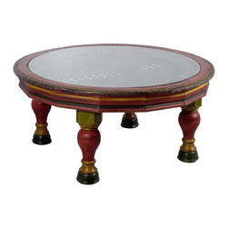 Wooden Round Mesh (Jali) Table  With Glass - Individually handcrafted with multicolor patterns. It has a beautiful pattern iron grill to support the glass.