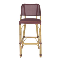 Safavieh - Deltana Barstool Maroon (Indoor/Outdoor) - Designed with casual tropical vibe, the maroon Deltana indoor-outdoor barstool by Safavieh is styled with classic wrapped detailing on its faux bamboo frame. Made of PE wicker and aluminum, this transitional barstool is easy care, weather resistant and equally pretty at a kitchen or patio counter.