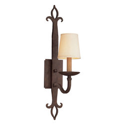 Troy Lighting - Troy Lighting B2711 Lyon 1 Light Wall Sconce with Fabric Shade - Go medieval on your d�cor with the Lyon 1-Light Hand-Forged Iron Wall Sconce from Troy Lighting. Crafted from hand-forged iron with hammered fleur-de-lis and a Burnt Sienna finish, the Lyon Sconce evokes the legendary Joan of Arc and an age of Crusades. Contrasting elements, including a wood-textured column and cream-colored fabric shade, complement the sconce�s rustic-romantic character and make it an ideal choice for a bedroom, library or hallway. Accommodates one 60-watt candelabra base bulb.Primitive fleur-de-lis hammered out of iron, this wall sconce will add some medieval flair to any room. Troy Lighting B2711 Features: