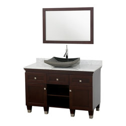 Wyndham Collection - Premiere Bathroom Vanity in Espresso, White  Carrera Top, Black Granite Sink - A bridge between traditional and modern design, and part of the Wyndham Collection Designer Series by Christopher Grubb, the Premiere Single Vanity is at home in almost every bathroom decor, blending the simple lines of modern design like vessel sinks and brushed chrome hardware with transitional elements like shaker doors, resulting in a timeless piece of bathroom furniture.