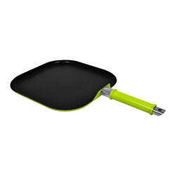 None - 11-inch Lime Green Non-Stick Aluminum Square Griddle/ Frypan - Brighten your kitchen with this versatile 11-inch bright lime green square griddle/fry pan. Made of aluminum and premium non-stick materials, this pan features a stay-cool handle and is dishwasher safe.