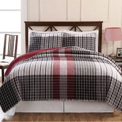 Pem America - Hand-crafted Black/ Red Plaid Patchwork Cotton Quilt Set - Designed with mid-weight fill for year-round comfort,this charming patchwork quilt will add contemporary country flair to your decor. Hand-crafted with cotton,this easy-care black and red quilt set features two shams.