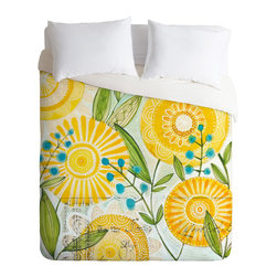 DENY Designs - Cori Dantini Sun Burst Flowers Duvet Cover - Turn your basic, boring down comforter into the super stylish focal point of your bedroom. Our Luxe Duvet is made from a heavy-weight luxurious woven polyester with a 50% cotton/50% polyester cream bottom. It also includes a hidden zipper with interior corner ties to secure your comforter. it's comfy, fade-resistant, and custom printed for each and every customer.