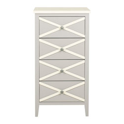 Safavieh - Mystique Accent Table - The French charms of the Mystique 4-drawer accent table get updated in a contemporary color palette, shown here in grey finished poplar with a contrasting white top and x-details on drawer fronts. Tall and slim, this piece will serve as a pretty lingerie chest in bedroom or bath, or brighten other rooms in need or storage.