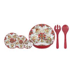 Le Cadeaux - Le Cadeaux Allegra Red 16 Piece Set, Dinnerware Set - Set includes: