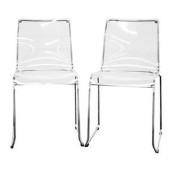Wholesale Interiors - Baxton Studio Lino Transparent Clear Acrylic Dining Chair - Transparent clear acrylic seat
