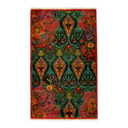 """Darya Rugs - Darya Rugs Suzani, Red, 3'1"""" x 5'3"""" M1760-278 - Darya Rugs Suzani area rugs take their inspiration from Uzbekistan. Suzani has endlessly found itself in the form of drapes, couches, pillows, and most importantly, carpets. Like its counterpart, the Ikat, Suzani is yet another tribal concept that has had a tremendous impact on the home goods industry."""
