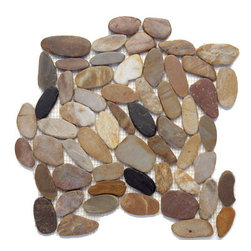 "Glass Tile Oasis - Anaconda Pebbles & Stones Cream/Beige Flat Pebbles Series Polished Pebbles & Sto - Sheet size:  12"" x 12""        Tile Size:  Random Pebbles        Tile thickness:  1/4""        Grout Joints:  1/8""        Sheet Mount:  Mesh Backed     Sold by the sheet     -  Inspired by smooth  shining snake scales   we offer the Sliced Pebbles in three colors. Each mosaic sheet has interlocking edges for a seamless installation. Perfect as a field tile or as a decorative accent. As pebbles are products of nature  each sheet will vary in color  size and shape. It is not unusual to find occasional imperfections and veins throughout the pebbles. This variation is considered to be a desired feature in the stone."