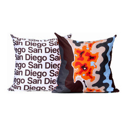 "Cartoloji - San Diego Map Pillow, Orange - The pillow features a abstract map of the city on the front and the city name text on the reverse. Pillow cover is made from 100%  certified organic cotton sateen and is printed with eco-friendly inks. Pillow insert is a non-allergenic faux-down poly-fill. Pillow dimensions: 17"" x 17"". Hand wash or dry clean. Made in the USA. Listing is for 1 double sided pillow."