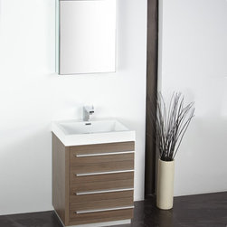 """Fresca - Livello 24 in. Wide Modern Bathroom Vanity w Medicine Cabinet (Orba Chrome) - Choose Included Faucet: Orba ChromeSingle Hole Faucet Mount (Faucet Shown In Picture May No Longer Be Available So Please Check Compatible Faucet List). Soft Closing Drawers. P-trap, Faucet, Pop-Up Drain and Installation Hardware Included. With overflow. Sink Color: White. Finish: Gray Oak. Sink Dimensions: 20.25 in. x13 in. x3.75 in. . Medicine Cabinet: 19.5 in. W x 26 in. H x 5 in. D. Materials: MDF with Acrylic Countertop/Sink with Overflow. Vanity: 23.38 in. W x 18.63 in. D x 33.5 in. HThe Livello 24"""" vanity features four pull out drawers that come equipped with slow closing hinges. Its sink is made with a durable acrylic material that is less likely to break then tradition ceramic, it also cleans better. This vanity's minimal design will make your bathroom feel like a modern oasis."""