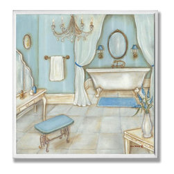 Stupell Industries - Blue Bath with Bench Bath Wall Plaque - Made in USA. Ready for Hanging. Hand Finished and Original Artwork. No Assembly Required. 12 in L x .5 in W x 12 in H (2 lbs.)Point your guests in the right direction with elegant bathroom plaques from The Stupell Home decor CollectionEach plaque comes with a sawtooth hanger for easy installation on bathroom doors or walls.