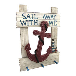 "Zeckos - sail Away With Me"" Nautical Anchor Wall Plaque with Pegs - This wall plaque adds a decorative accent home, complementing beach or nautical themes. Made of wood, it measures 18 1/4 inches tall, 13 1/4 inches wide, and 2 1/2 inches deep. This piece has an allover distressed finish and features an anchor and rope in the center with a lighthouse off to the side. It also has 3 pegs to hang keys, jackets, or hats. It easily mounts to the wall with 2 nails or screws by the picture hangers on the back."