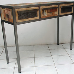 3 Drawer Industrial Style Console / Sofa Table - A 3 drawer console made from salvaged / reclaimed boat wood.  This furniture has a rustic / modern / industrial look and is very well made.