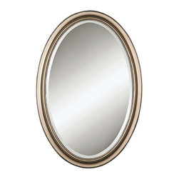 Uttermost - Petite Manhattan Champagne Silver Mirror - Delicate oval frame features a hand-laid silver leaf finish. Perfect for today's bathrooms and foyers. May be hung either horizontal or vertical.