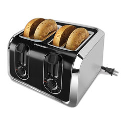 Applica - Black and Decker 4-Slice Toaster - Extra-wide. Stainless steel with black accents. Six browning control settings. Self-centering slots. High-lift carriage. Auto-eject removable crumb tray for quick cleanup. Retractable power cord. Voltage: 850 watts. Warranty: Two yearsDouble your toasting options! With dual independent controls, you can toast two slices of bread or two waffles at the same time to suit individual preference. Select the Bagel Mode to toast your favorite bagels golden brown on the cut side and deliciously warm on the outside.