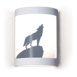 A19 Lighting - Lone Wolf Western/Nature Themed Silhouette Wall Sconce - A Classic Image Of Untamed Nature, This Wolf Stands Proudly Atop A Boulder, Calling To His Pack. The Image Is Reverse-Painted On A Translucent White Film And Framed In Ceramic. The Effect Is Refreshing Yet Dramatic. The Frame Is Also Available In A Number Of Colors And Faux Finishes Ranging From Rustic Metals To Rich Glossy Glaze.Height:10.25Width:7.75Depth:4Mounting Center:5.125Bulb Type:13 Watt Compact Fluorescent Gu24 BaseNumber Of Bulbs:1American-Made Pendant Downlight.Resistant To Rust And Corrosion.Ceramic Frame Includes A Durable Satin White Acrylic Finish.Frame Is Also Available In Over 50 Colors, Finishes And Glazes.1- 13W Energy Star Gu24 Cfl (Bulb Included)Due To The Handmade Nature Of A19 Products, It Is Not Unreasonable To Expect Slight Differences From Item To Item.