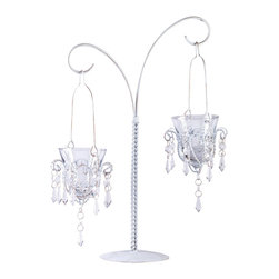 "Koehler Home Decor - Koehler Home Decor Hanging Candle Holders - Elegant hanging candle holders featuring vintage design and glittering crystals that delight the eye. Acrylic drops, glass votive holders, metal base. 13""x 6.25""x 17"" high."