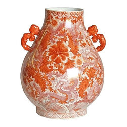 Belle & June - Dragon Deer Head Vase Orange - Fanciful dragons swoop among flower petals in this intriguing porcelain piece. The motif lends an Asian touch while the juicy hue brings a pop of color to your favorite setting.