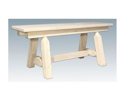 Montana Woodworks - 45 in. Hand Crafted Bench - Plank style. Heirloom quality. Edge glued panels. Solid lodge pole legs. Cross support. Timbers and trim pieces are sawn square. Rustic timber frame design. Made from American grown wood. Made in USA. No assembly required. 45 in. L x 12 in. W x 18 in. H (32 lbs.). Warranty. Ready to Finish. Use and Care InstructionsMix and match with dining side chairs or use it in the hall or foot of the bed for easy, comfortable seating.