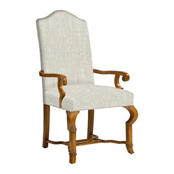 Kathy Kuo Home - Crawford French Country Camel Back Dining Arm Chair - Warning: Once your dinner guests sit in these chairs, they may never