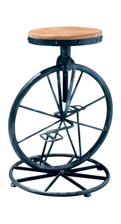 Great Deal Furniture - Charles Bicycle Wheel Adjustable Bar Stool - For a whimsical touch to any room, add the Charles Adjustable Height Bar Stool. Complete with bicycle pedals, wheel, and weathered fir wood seat, the decorative possibilities are endless.