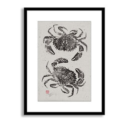 Gallery Direct - Dwight Hwang's 'Rock Crabs' Framed Paper Art, 16x20 - A nod to the traditional Japanese art of gyotaku, meant as a way to record a proud catch for fishermen, this print captures delicate detail of the actual fish. This striking print comes framed and matted with a three inch white mat. The perfect way to add character, depth and value to your room, it is printed using the highest quality materials. Arrives ready to hang.