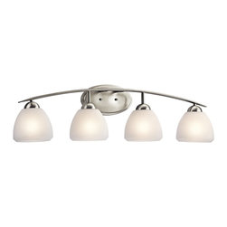 KICHLER - KICHLER 45120NI Calleigh Modern / Contemporary Bathroom / Vanity Light - This 4 light bath light from the Kichler Calleigh Collection features satin etched goblets of cased opal glass balancing on an arched and tapered arm in Brushed Nickel providing a clean, crisp contemporary flair. Width: 34.5, Height: 9, Extention: 7, Height from Center of Wall Opening: 2.5. Uses 4 100W max bulbs. May be installed with the glass up or down. Rated for damp locations.