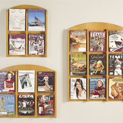 Lesro - Pocket Literature Racks Set (Medium) - Finish: Medium. Magazines, brochures, informational pamphlets and more will be organized and easily accessible when you include this set of wall mount literature racks as part of your office decor. Constructed of wood in your choice of finishes, the racks have clear front pockets and are sold in a set of three. Includes: Four Pocket Literature Racks, Six Pocket Literature Racks and Nine Pocket Literature Racks. Solid hardwood uprights with chrome plated hooks. Furniture quality construction. Four Pocket Literature Racks:. Inside Dimension: 9 in. W x 1.5 in. D x 12 in. H. Overall Dimensions: 21 in. W x 2.5 in. D x 27.5 in. H. Six Pocket Literature Racks:. Inside Dimension: 9 in. W x 1.5 in. D x 12 in. H. Overall Dimensions: 31 in. W x 2.5 in. D x 27.5 in. H. Nine Pocket Literature Racks:. Inside Dimension: 9 in. W x 1.5 in. D x 12 in. H. Overall Dimensions: 31 in. W x 2.5 in. D x 40.5 in. H