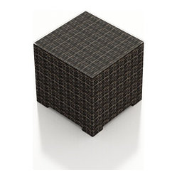 Capistrano Modern Outdoor End Table, Mocha Wicker
