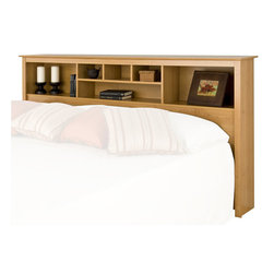 Prepac - Prepac Sonoma Maple King Bookcase Headboard - Prepac - Headboards - MSH8445 - The versatile Sonoma Bookcase Headboard features three compartments which provide ample space for bedside reading material alarm clocks and other necessities. Contemporary in design and style it will be the perfect addition to a bedroom with a country casual or transitional decor.