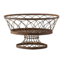 Aidan Gray - Large Oval Basket - Do something striking in your outdoor decor. This hand-aged metal basket looks so charming in your garden, whether filled with a plant or left empty to display the delightful detail of its weave.