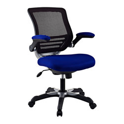 LexMod - Edge Office Chair in Blue - Welcome to a new era in functional comfort. The Edge office chair combines old time charm with cutting edge ergonomics to deliver one comprehensive seating experience.   Every feature imaginable in a chair is available as soon as you sit down. This is a chair that you can conform to behave exactly how you need it.
