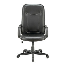 """LexMod - Turbo Highback Office Chair in Black - Turn up the volume with the charged and ready Turbo High Back Office Chair. Set to task with this function driven padded chair that matches up """"wheel to wheel"""" with the more expensive alternatives. Turbo also come with lumbar support, pneumatic height adjustment, a black nylon base, dual wheel carpet casters and a full 360 degree swivel."""