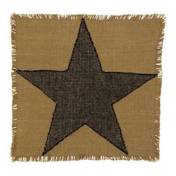India Home Fashions - Burlap Star Square Table Mat - The Burlap Star Table Mat features the popular rustic look of raw burlap but made from a soft 100% cotton material. This accent mat can also be used as a place mat to create a unique table setting. Also available in Burlap Black Star and Burlap Wine Star.