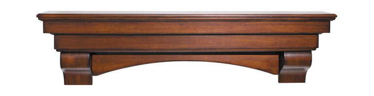 """Pearl Mantel - The Auburn Fireplace Surround, Cherry, 72"""" - Deck the walls with treasures of the heart. This classically designed surround shelf will showcase all your collectibles, photos and items of interest beautifully."""