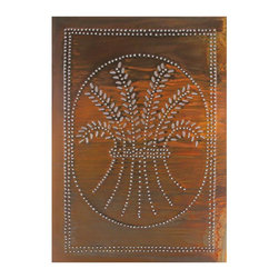 "USA Handcrafted - Four Handcrafted Punched Tin Cabinet Panel Primitive Wheat Design, Rustic Tin - Our punched panels are handcrafted in Pennsylvania, available in copper or a variety of tin finishes, they are perfect cabinet inserts, and suitable for all of your primitive country decorating needs, Sold in Packs of Four, Each Measures 10"" wide X 14"" high"